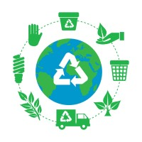 image of earth with cycle of re-use reduce and recycle icons